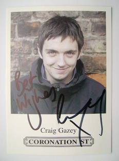 Craig Gazey autograph (hand-signed Coronation Street cast card)