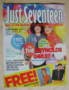 Just Seventeen magazine - 29 March 1989 - The Reynolds Girls cover