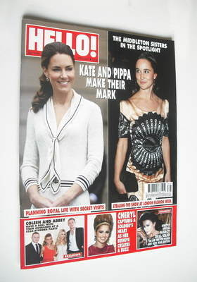 <!--2011-10-03-->Hello! magazine - Kate and Pippa Middleton cover (3 Octobe