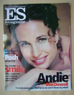 <!--2002-05-24-->Evening Standard magazine - Andie MacDowell cover (24 May