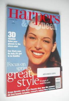 British Harpers & Queen magazine - March 1994 - Milla Jovovich cover