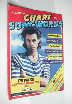 Chart Songwords magazine - No 23 - December 1980 - Bob Geldof cover