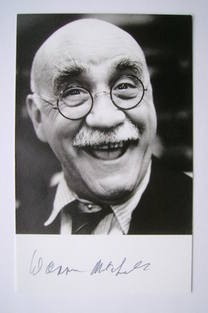 Warren Mitchell autographed photo