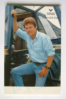 Frazer Hines autograph (hand-signed Joe Sugden cast card)