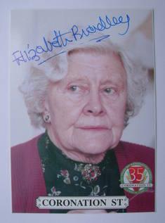 Elizabeth Bradley autograph (hand-signed Coronation Street cast card)
