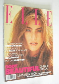 British Elle magazine - July 1991 - Megan Douglas cover