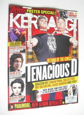 <!--2012-04-28-->Kerrang magazine - Tenacious D cover (28 April 2012 - Issu