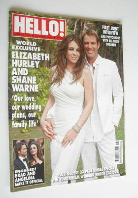 <!--2012-04-23-->Hello! magazine - Elizabeth Hurley and Shane Warne cover (