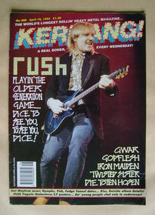 <!--1992-04-18-->Kerrang magazine - Alex Lifeson cover (18 April 1992 - Iss