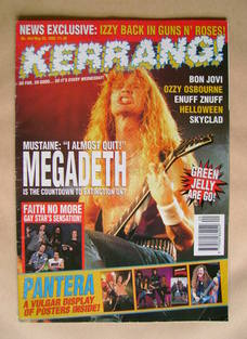 <!--1993-05-22-->Kerrang magazine - Dave Mustaine cover (22 May 1993 - Issu
