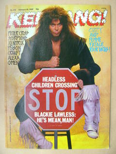 <!--1989-02-18-->Kerrang magazine - Blackie Lawless cover (18 February 1989