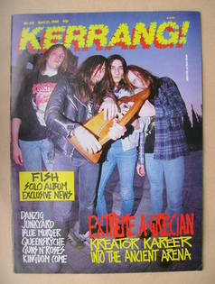 <!--1989-04-22-->Kerrang magazine - Kreator cover (22 April 1989 - Issue 23