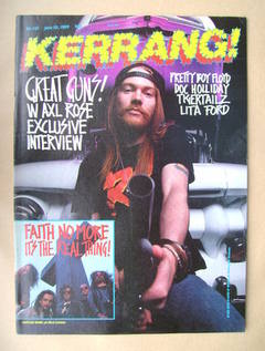 <!--1989-06-10-->Kerrang magazine - W Axl Rose cover (10 June 1989 - Issue