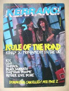 <!--1989-06-17-->Kerrang magazine - King's X cover (17 June 1989 - Issue 24