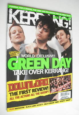 <!--2005-06-18-->Kerrang magazine - Green Day cover (18 June 2005 - Issue 1