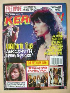 <!--1989-11-11-->Kerrang magazine - Steven Tyler cover (11 November 1989 -