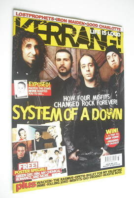 <!--2005-08-20-->Kerrang magazine - System Of A Down cover (20 August 2005