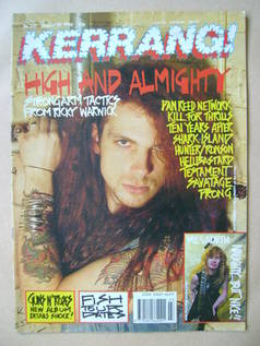 <!--1990-01-20-->Kerrang magazine - Ricky Warwick cover (20 January 1990 -