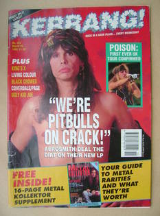 <!--1993-03-20-->Kerrang magazine - Steven Tyler cover (20 March 1993 - Iss