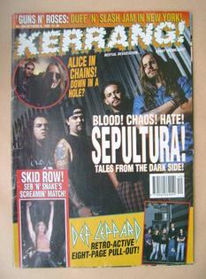 <!--1993-10-09-->Kerrang magazine - Sepultura cover (9 October 1993 - Issue