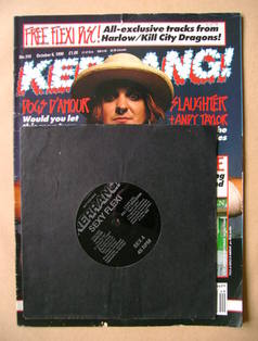 <!--1990-10-06-->Kerrang magazine - Tyla of Dogs D'Amour cover (6 October 1
