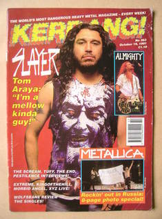 <!--1991-10-19-->Kerrang magazine - Tom Araya cover (19 October 1991 - Issu