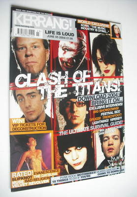 <!--2004-06-05-->Kerrang magazine - Clash Of The Titans cover (5 June 2004