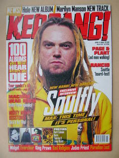 <!--1998-04-11-->Kerrang magazine - Max Cavalera cover (11 April 1998 - Iss
