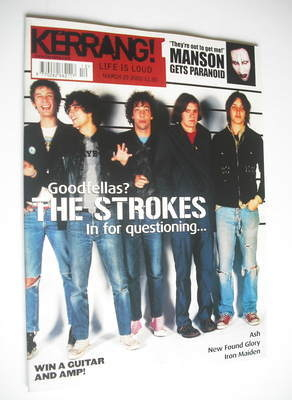 <!--2002-03-23-->Kerrang magazine - The Strokes cover (23 March 2002 - Issu