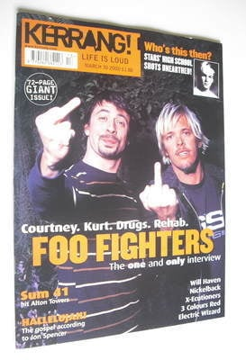 <!--2002-03-30-->Kerrang magazine - Foo Fighters cover (30 March 2002 - Iss