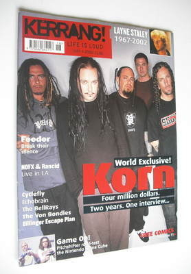 <!--2002-05-04-->Kerrang magazine - Korn cover (4 May 2002 - Issue 902)