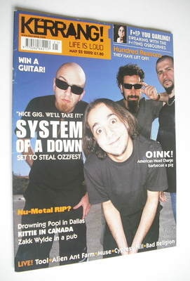 <!--2002-05-25-->Kerrang magazine - System Of A Down cover (25 May 2002 - I