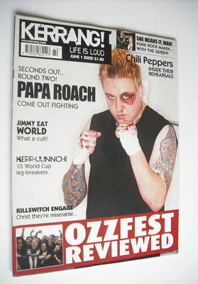<!--2002-06-01-->Kerrang magazine - Papa Roach cover (1 June 2002 - Issue 9