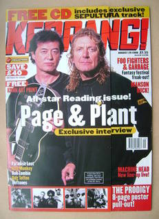 <!--1998-08-29-->Kerrang magazine - Jimmy Page and Robert Plant cover (29 A