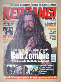 <!--1998-08-22-->Kerrang magazine - Rob Zombie cover (22 August 1998 - Issu