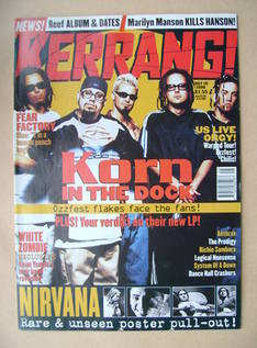 <!--1998-07-18-->Kerrang magazine - Korn cover (18 July 1998 - Issue 708)