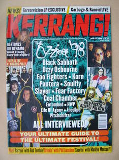 <!--1998-06-20-->Kerrang magazine - Ozzfest '98 cover (20 June 1998 - Issue