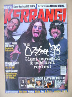 <!--1998-06-27-->Kerrang magazine - Ozzfest '98 Review cover (27 June 1998