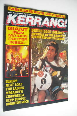 <!--1987-03-19-->Kerrang magazine - Anthrax cover (19 March - 1 April 1987