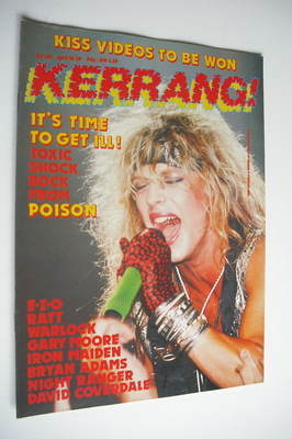<!--1987-04-16-->Kerrang magazine - Poison cover (16-29 April 1987 - Issue
