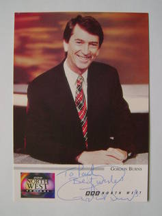 Gordon Burns autograph (hand-signed photograph, dedicated)