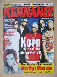<!--1999-01-16-->Kerrang magazine - Korn cover (16 January 1999 - Issue 733