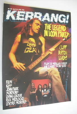 <!--1988-04-30-->Kerrang magazine - Cliff Burton cover (30 April 1988 - Iss