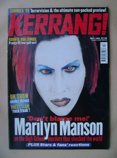 <!--1999-05-01-->Kerrang magazine - Marilyn Manson cover (1 May 1999 - Issu