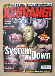 <!--1999-05-15-->Kerrang magazine - System Of A Down cover (15 May 1999 - I
