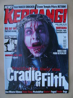 <!--1999-04-03-->Kerrang magazine - Dani Filth cover (3 April 1999 - Issue