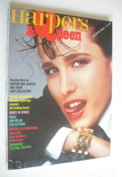 British Harpers & Queen magazine - August 1984 - Andie MacDowell cover