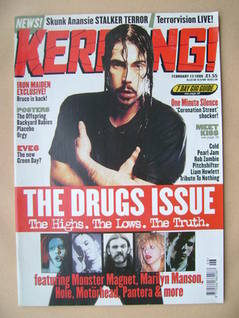 <!--1999-02-13-->Kerrang magazine - The Drugs Issue (13 February 1999 - Iss