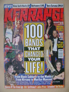 <!--1998-11-28-->Kerrang magazine - 100 Bands That Changed Your Life! cover