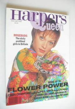 British Harpers & Queen magazine - January 1993 - Amber Valletta cover
